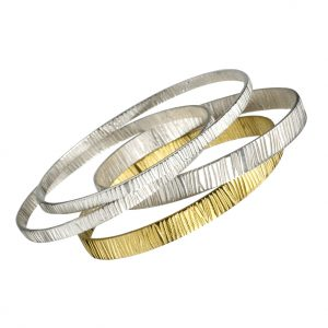 'Grain' Silver & 18ct Gold Bangles