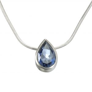London Blue Topaz Silver Pear Pendant