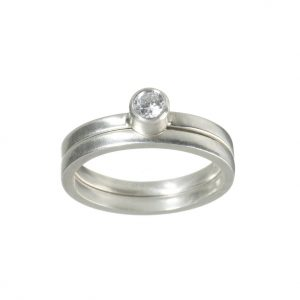 Platinum Engagement and Wedding Ring