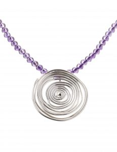 'Tempest' Silver Swirl & Amethyst Necklace