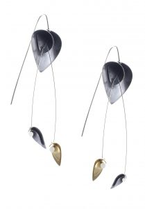'Flouirsh' Oxidised Silver & 22ct Gilt Dangly Earrings